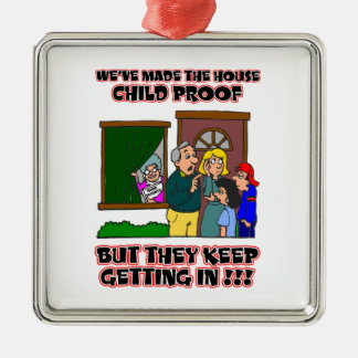 Funny Cartoon - Families & Children Who Come Home Metal Ornament