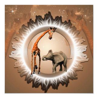 Funny cartoon geraffe and elephant 5.25x5.25 square paper invitation card