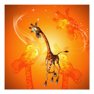 "Funny cartoon giraffe 5.25"" square invitation card"