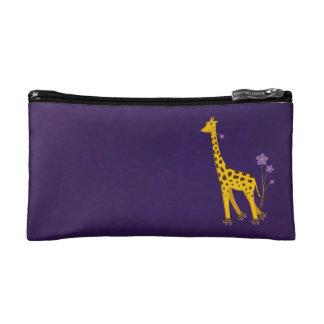 Funny Cartoon Giraffe Roller Skating Purple Makeup Bags