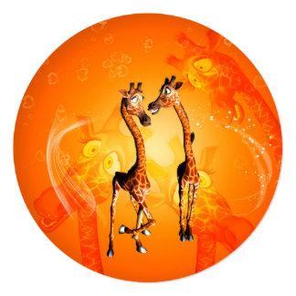 Funny cartoon giraffes 5.25x5.25 square paper invitation card