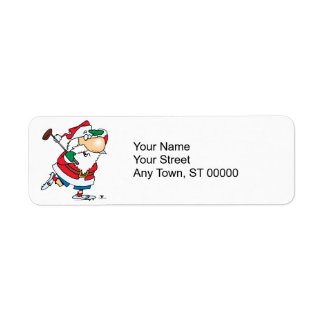 funny cartoon golfing golfer santa claus return address label
