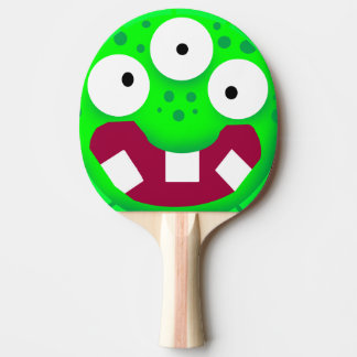 funny cartoon green monster ping pong paddle