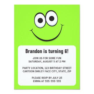 Funny cartoon green smiley face birthday invite