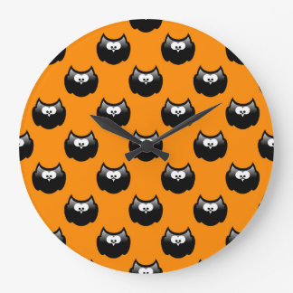 funny cartoon halloween owl over yellow backgroud wallclocks