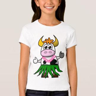 Funny cartoon hula cow t-shirts