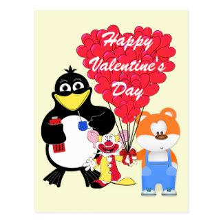 Funny cartoon kids Valentines Postcard