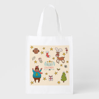 Funny cartoon Merry Christmas pattern Grocery Bags