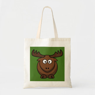 Funny Cartoon Moose with Green Background Canvas Bags