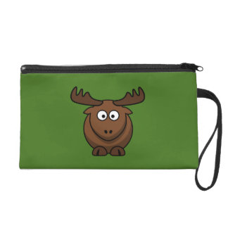 Funny Cartoon Moose with Green Background Wristlets