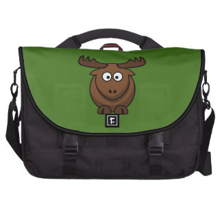 Funny Cartoon Moose with Green Background Laptop Bags