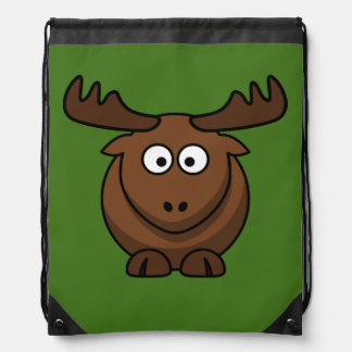 Funny Cartoon Moose with Green Background Drawstring Bag