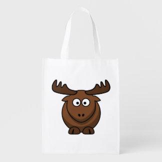 Funny Cartoon Moose Market Totes