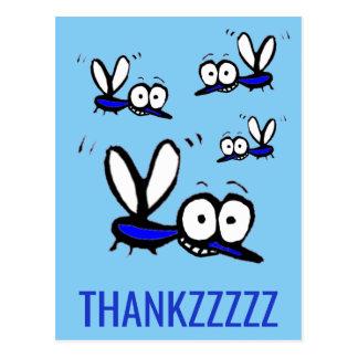 funny cartoon mosquito thank you thankzzz postcard