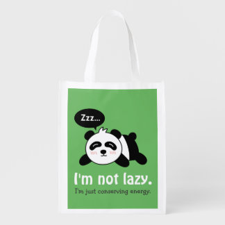 Funny Cartoon of Cute Sleeping Panda Grocery Bags