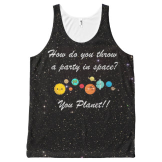 Funny Cartoon Planets in Space All-Over-Print Tank Top