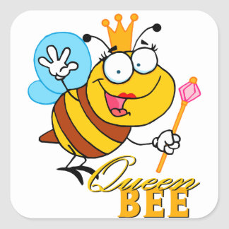 funny cartoon queen bee with text square sticker