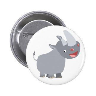 Funny Cartoon Rhino Button Badge