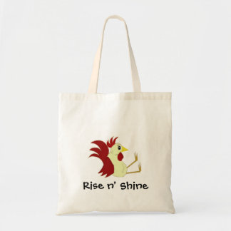Funny Cartoon Rooster with Saying Budget Tote Bag