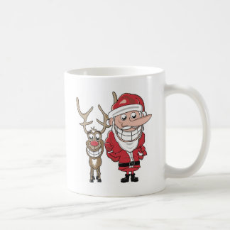 Funny Cartoon Santa and Rudolph Coffee Mug