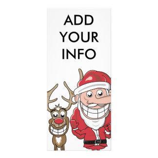 Funny Cartoon Santa and Rudolph Rack Card