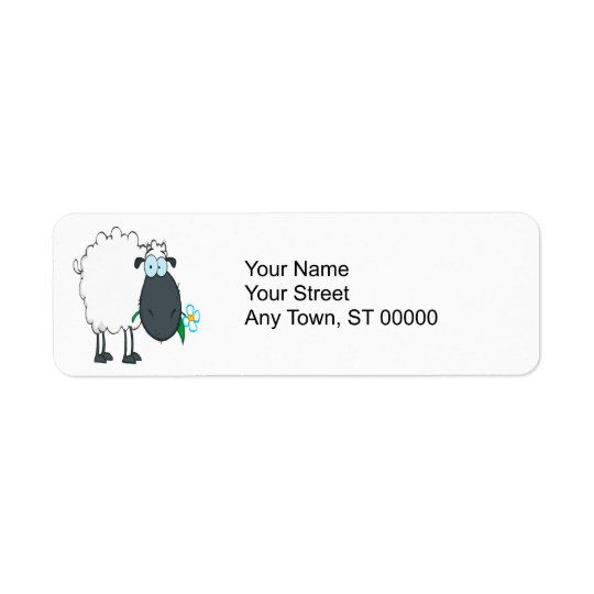 funny cartoon sheep with flower return address label