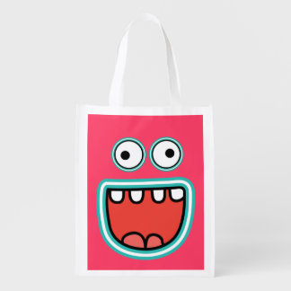 Funny Cartoon Smiley Face with Big Eyes Market Tote