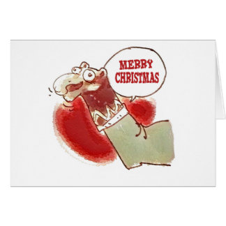 funny cartoon sock puppet says merry christmas card