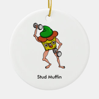Funny Cartoon Stud Muffin Workout Round Ceramic Ornament