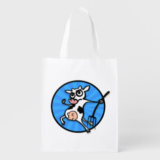 FUNNY CARTOON STYLE COW REUSABLE SHOPPING BAG REUSABLE GROCERY BAGS