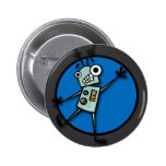 FUNNY CARTOON STYLE ROBOT ROUND BUTTON
