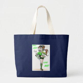funny cartoon woman smile tote bag