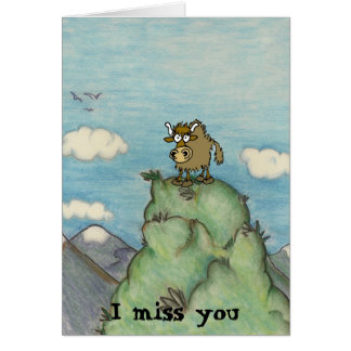 Funny cartoon yak on mountain top. card
