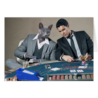 Funny Casino Catsino Gambling Cat Greeting Card