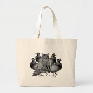 funny cat amongst the pigeons jumbo tote bag