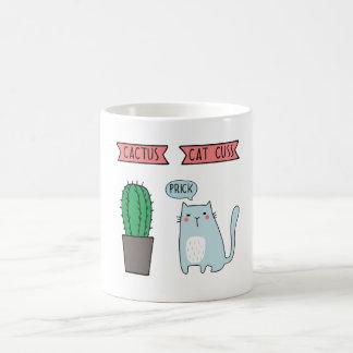 Funny cat and cactus coffee mug