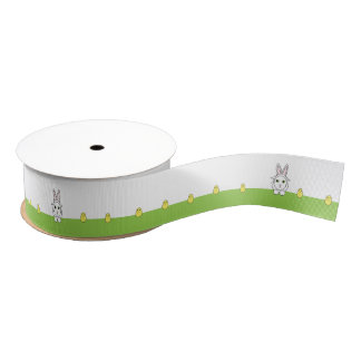 Funny Cat and Chicks Grosgrain Ribbon