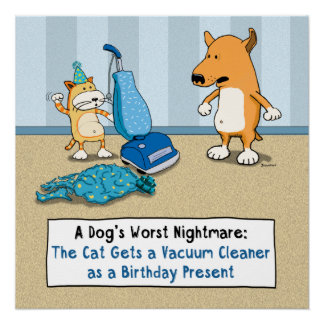Funny Cat and Dog Vacuum Cleaner Poster Perfect Poster