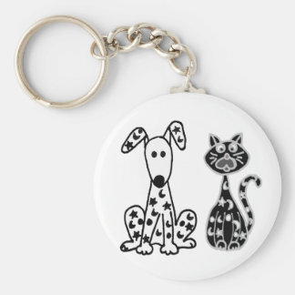 Funny Cat and Dog with Stars and Moons Spots Keychain