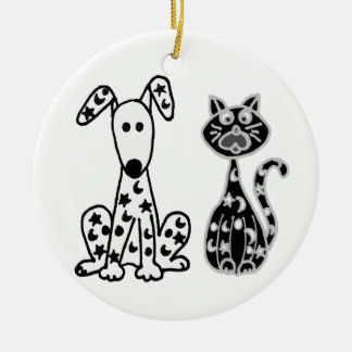 Funny Cat and Dog with Stars and Moons Spots Round Ceramic Ornament