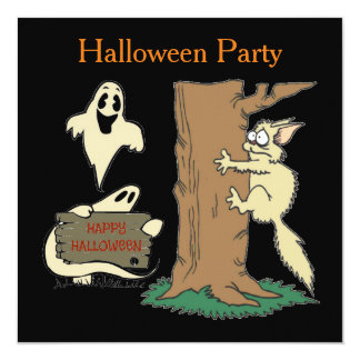 Funny Cat and Ghost Halloween Invitation