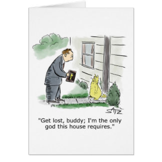 Funny cat and religion greeting card