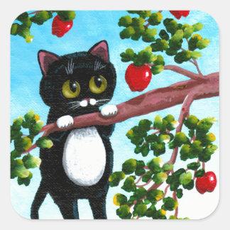 Funny Cat Apple Cartoon Creationarts Square Sticker