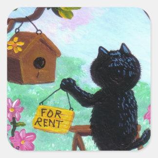 Funny Cat Art Birdhouse Cartoon Creationarts LRA Square Sticker
