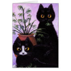 Funny Cat Art Black Tuxedo Creationarts Card