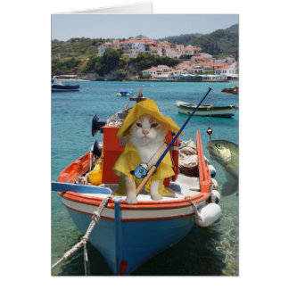 Funny Cat Birthday for Fisherman Card