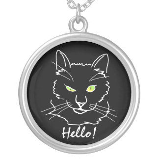 Funny Cat Black Silver Plated Necklace