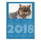Funny Cat Blue 2018 Calendar Magnetic Card