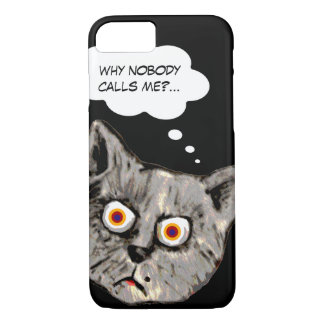 funny cat cartoon black Case-Mate iPhone case