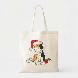 Funny Cat, Christmas Cat, Santa Cat,  Sant Kitty Tote Bag